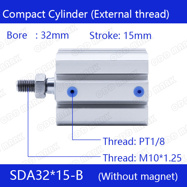 SDA32*15-B Free shipping 32mm Bore 15mm Stroke External thread Compact Air Cylinders Dual Action Air Pneumatic Cylinder стоимость