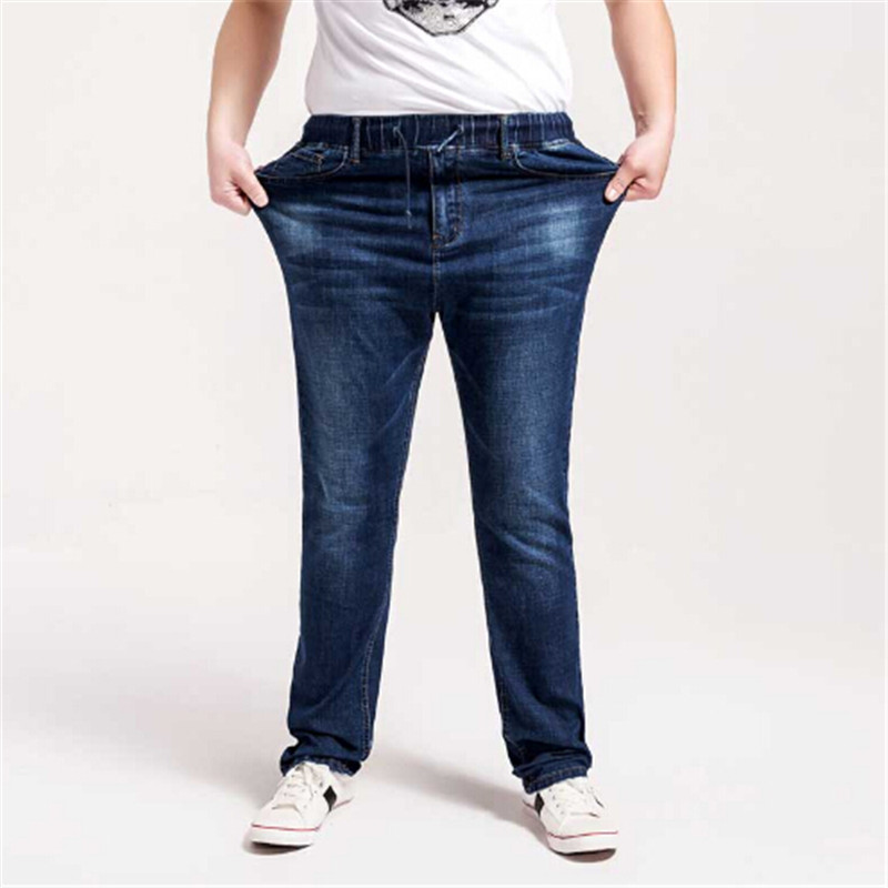 The spring and Autumn period, 2017 yards elastic waist loose jeans male elastic straight pants feet add fertilizer increased men