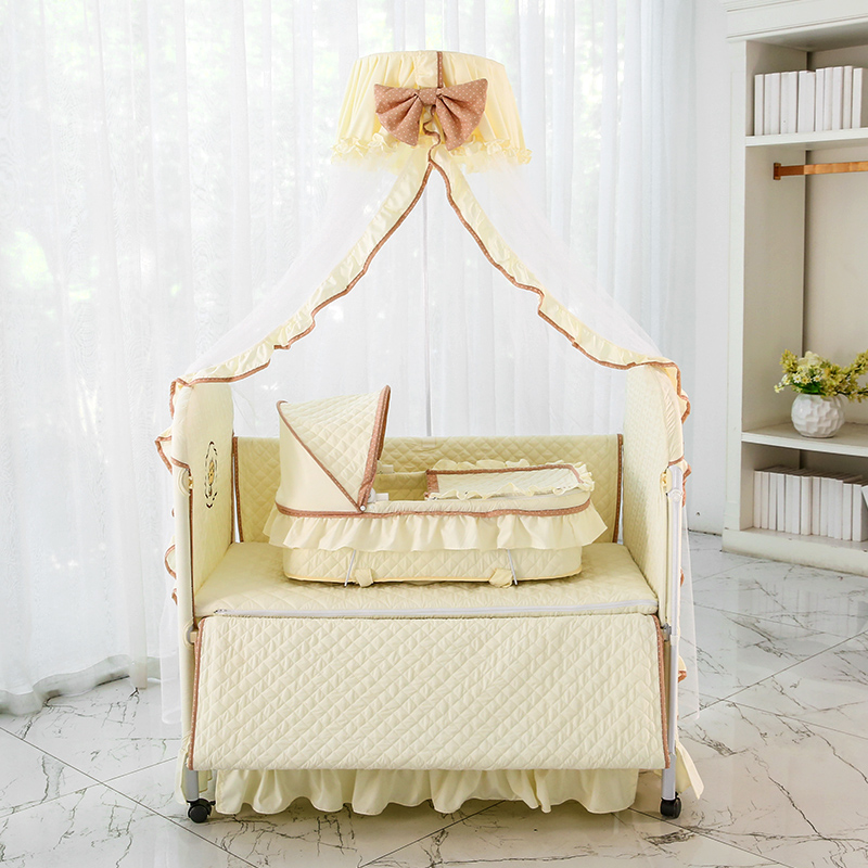 Newborn Baby Bed European Style Multifunctional Environmental Protection Cloth Baby Bed Children Bed Game Bed With Mosquit цены онлайн