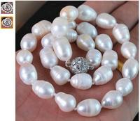 Women Gift Freshwater New Fashion 11 13mm Waterdrop Natural White Akoya Cultured Pearl Necklace Magnet Clasp