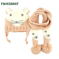 New Winter Baby Girl Hat with Scarf Kids Girls Hat Scarf Set Cute Cat Knitted Baby Hats for Toddlers Caps for 0 to 6 Years old