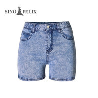 Sino Felix Plain Stretchy Snow Blue Jeans Women Summer High Waist Clear Design Buttocks Female Skinny Shorts Sexy Pocket Bottoms