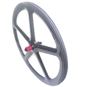Image 2 - 5 raios de estrada carbono rodado freio a disco clincher rodas tubulares 700c centerlock 6 parafusos bloqueio