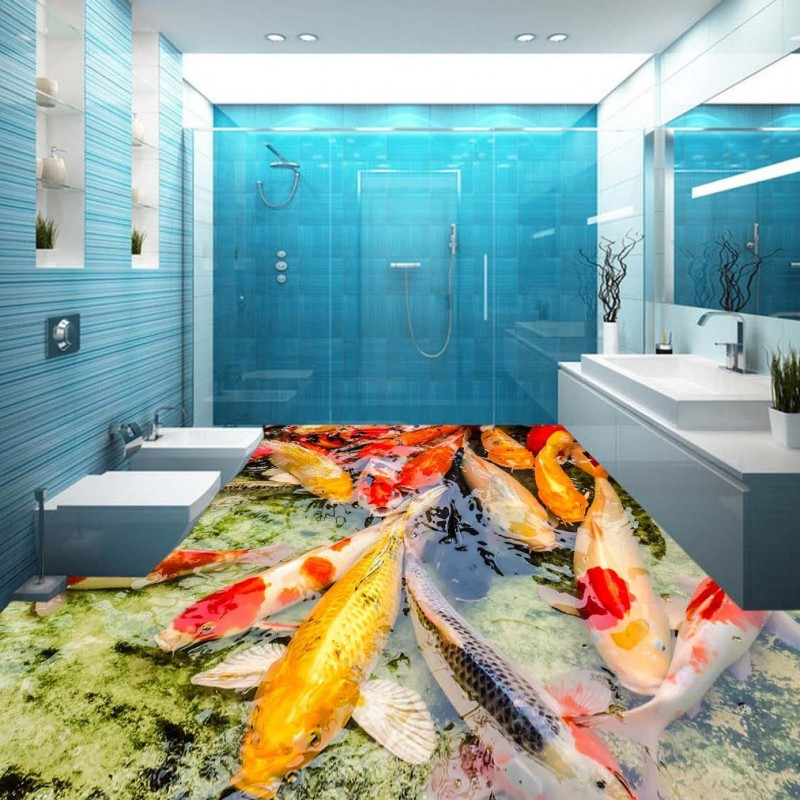 Free Shipping Hawthorn carp swimming in 3D floor painting thickened non-slip bathroom office square living room flooring mural free shipping waterfall hawthorn carp 3d outdoor flooring non slip shopping mall living room bathroom lobby flooring mural