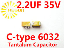 2.2 МКФ 35 В C тип 2312 6032 225 В SMD Тантал Конденсатор Разъем TAJC225K035RNJ x500PCS