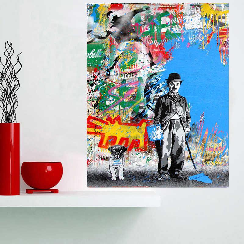 Современные стены искусства Холст Поп граффити любовь ответ плакаты и принты Эйнштейна спрей живопись искусство картины для гостиной