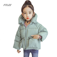 Ftlzz 3-7 Yrs Baby Girl Cotton Coat Fashion Casual Cute Big Pocket Loose Hooded Warm Outerwear Short Design Pink Cotton Overcoat