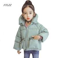 Ftlzz 3-7 Yrs Bebek Kız Pamuk Ceket Moda Rahat Sevimli büyük Cep Gevşek Kapşonlu Sıcak Giyim Kısa Tasarım Pembe Pamuk palto