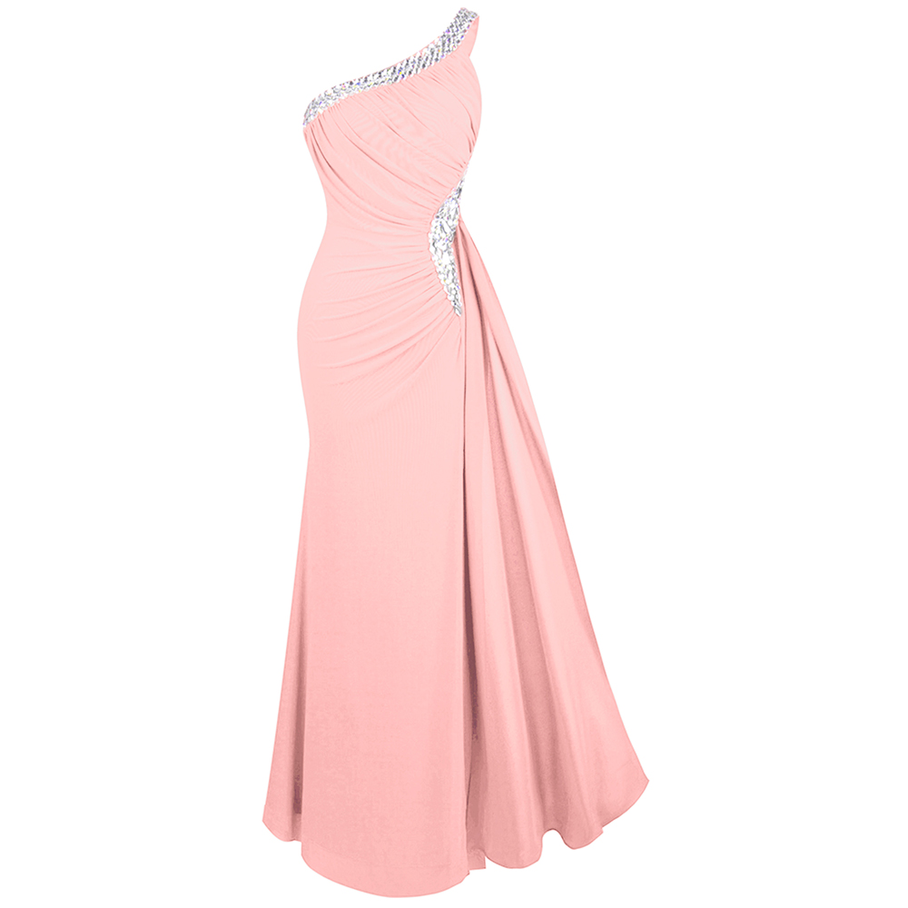 Angel fashions Women s Elegant Evening Dresses One Shoulder Beading Pleated Long Party Dress Mother s
