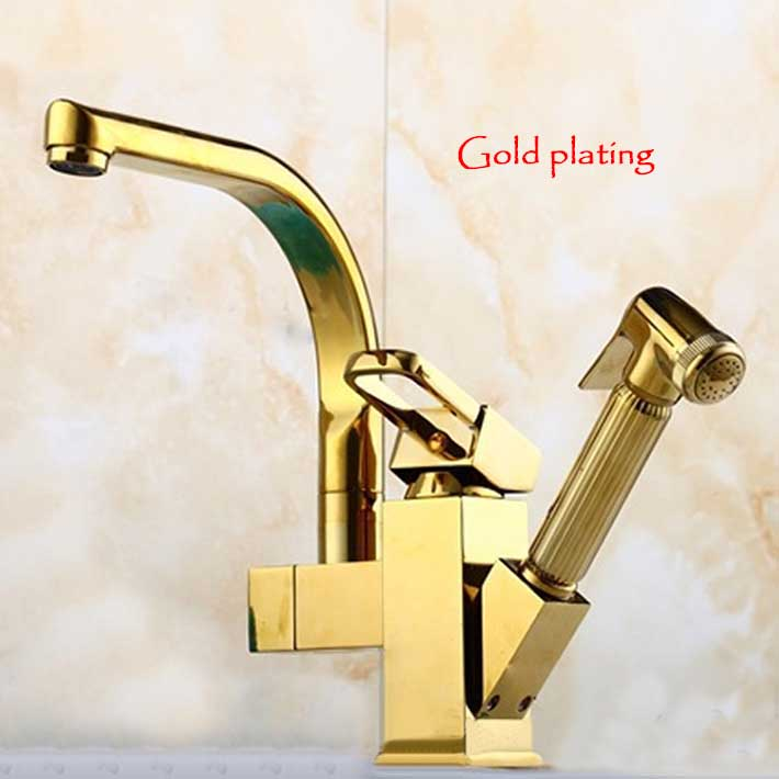 купить Luxury copper gold plating kitchen sink faucet mixer tap with pull out spray недорого