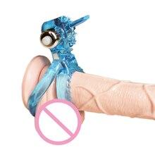 3 Colours Jelly Penis Ring G-spot Vibrator Vibrating  Rings Soft Tongue Male sex Toys