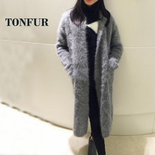 Real Mink Cashmere Long Coat Genuine Mink Cashmere Sweater Warm Custom Big Size Pure True Mink Fur X Long Cardigans FP902(China)