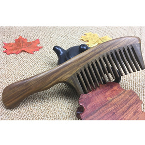 New 1Pc Wooden Sandalwood Wide Tooth Wood Comb Natural Head Massager Hair Combs Wooden Handle with Wide Toothed Comb(China)