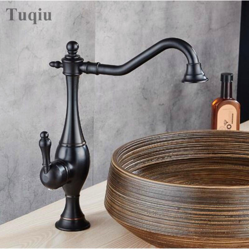 Wholesale And Retail Basin Faucet Retro Black Bathroom Faucet Single Handle Water Tap Deck Mounted Kitchen Vessel Sink Faucet wholesale and retail deck mounted bathroom basin faucet single handle hole wash basin solid brass tap golden finish