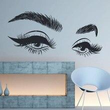 Eyelashes Wall Decal Girls Eyes Eyebrows Art Vinyl Sticker, Eyelash Extension Decor, Make Up Salon Window Murals F904