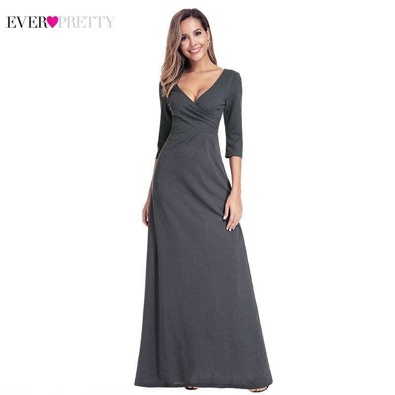 Ever Pretty Dark Grey   Prom     Dresses   2019 Straight V-Neck 3/4 Sleeve Ruffles Elegant Long   Prom   Gown For Party Mezuniyet Elbiseleri