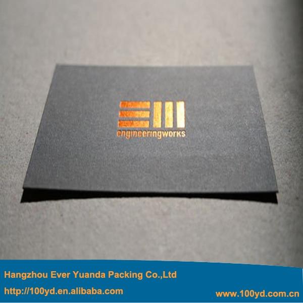 600gsm Black Cardboard Paper Business Card Custom Golden Printing