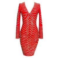 Shining Beauty 2017 New Red Black Long Sleeve V Neck Beading Sexy Women Elegant Top Quality