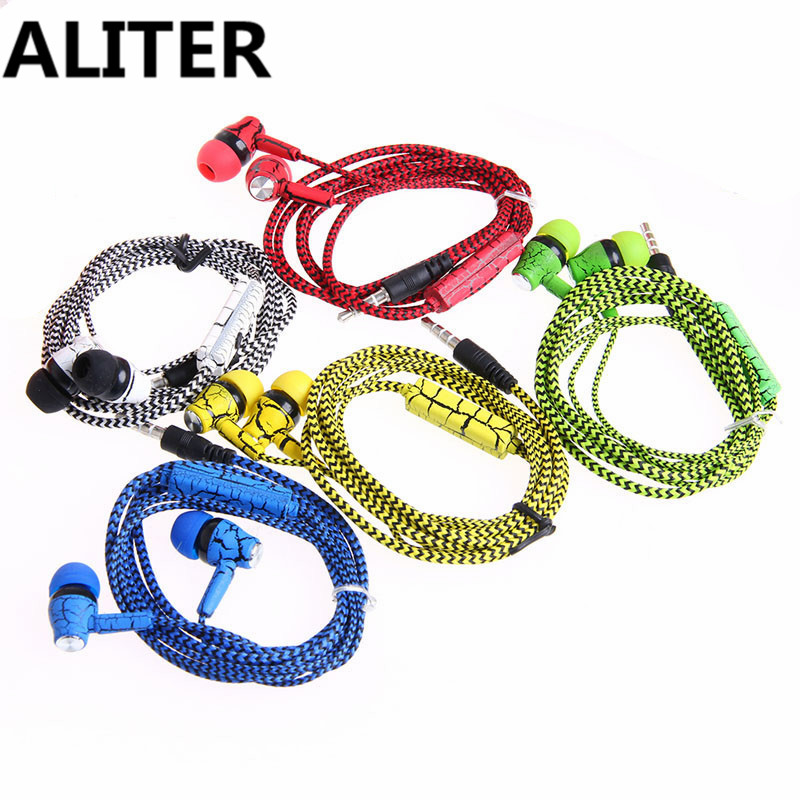 ALITER 3.5mm With Microphone In-Ear Earphones Crack Braided Earphone For Phone ratchet clank a crack in time