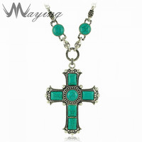 Gothic Large Cross Pendant Necklace Beads Silver Chain For Women Mens Christian Jesus Western Turquoise Green
