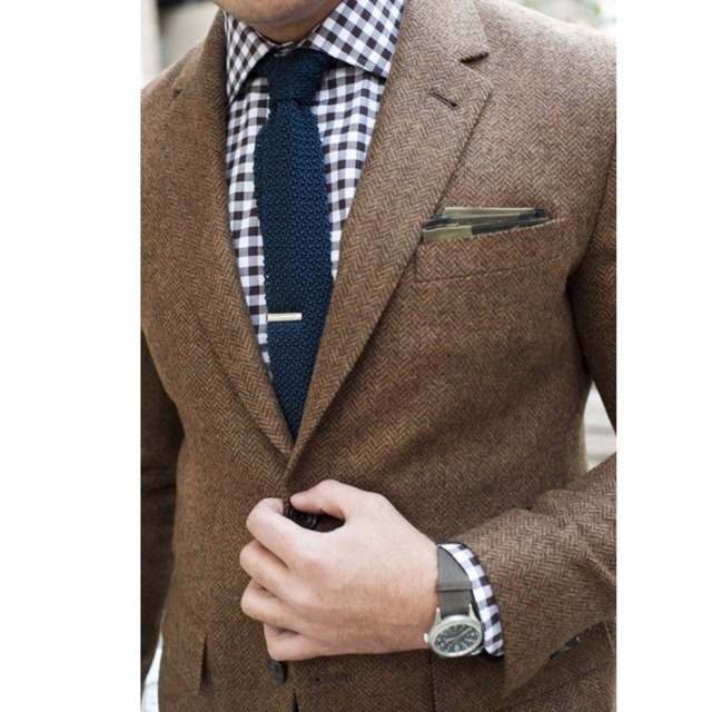Del Mens Made Brown Giacca Tweed Cappotto Di Misura Tweed Custom Su rwXrxIqv
