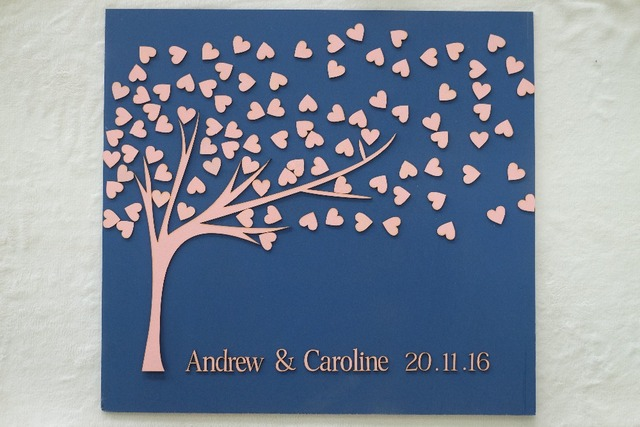 Personalized Guest Book Custom Color Wood Background Signature Rustic Anniversary Wedding Decoration With Name And