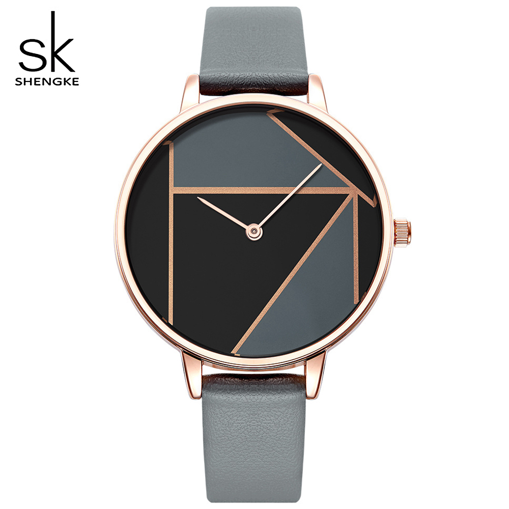 SHENGKE 2018 New Watch Women Dress Women's Watches Clock Brand Ladies Casual Leather Strap Quartz Reloj Mujer Wrist Watch Gifts