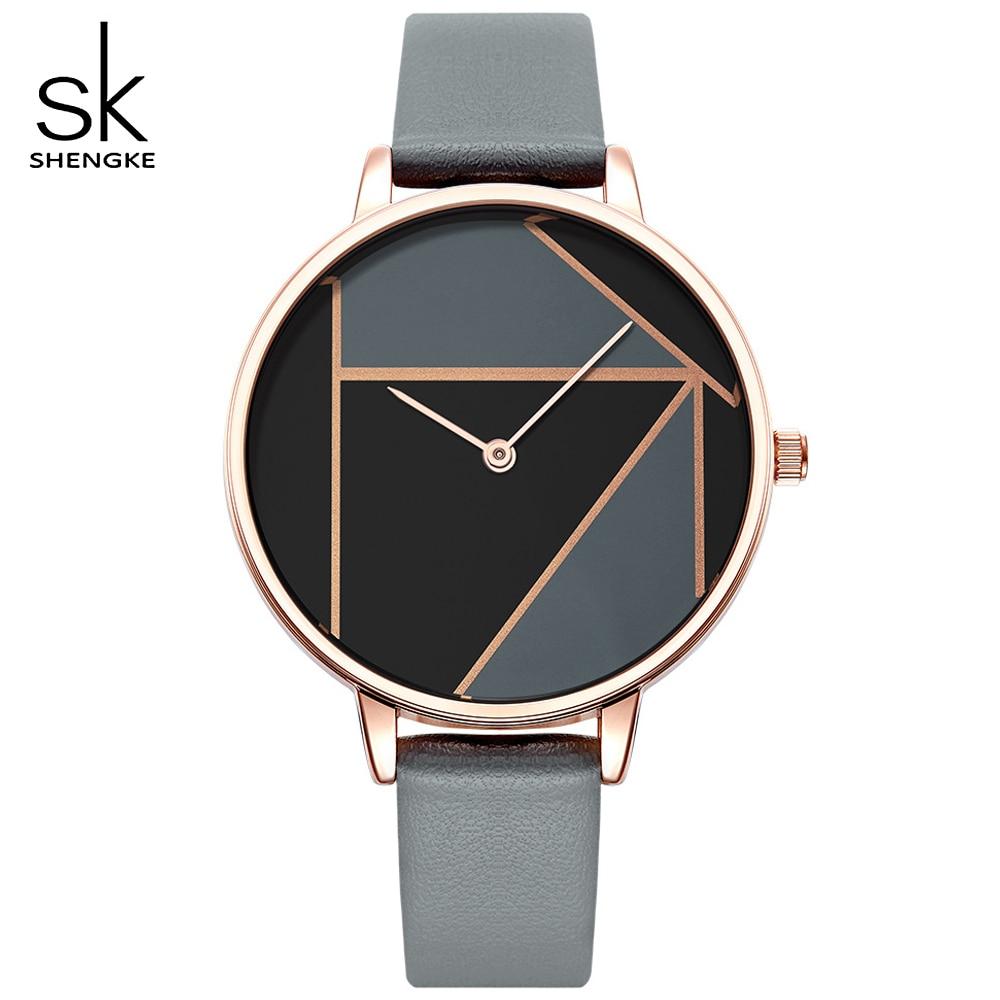 SHENGKE 2018 Nouvelle Montre Femmes Robe Montres Horloge Marque Dames de Femmes Casual Bracelet En Cuir Quartz Reloj Mujer Montre-Bracelet cadeaux