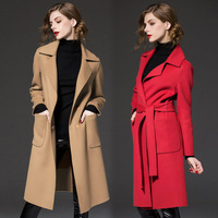 women wool cashmere coat high waist bandage belt coat double wool middle long brown black red woolen jacket one button