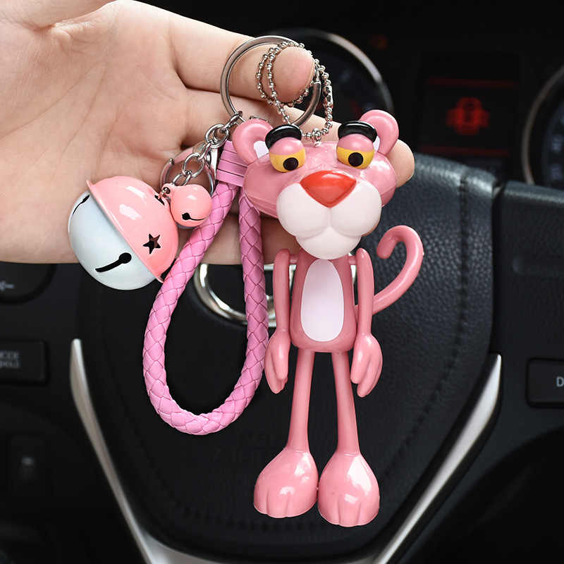 Bonito dos desenhos animados animal anime pantera rosa chaveiro coelho bola pom pom pom chaveiros sinos chaveiro feminino saco de carro encantos pendan