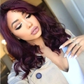 Brazilian Full Lace Human Hair Wig For Black Woman Burgundy Glueless Lace Front Wig Wavy 99j Full Lace Wig With Baby Hair