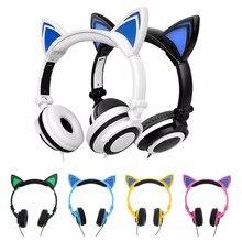 Foldable Flashing Glowing Cat Ear Headphones Wired Video Gaming Headset Hifi Stereo Mp3 Music Player Walkman Earphones