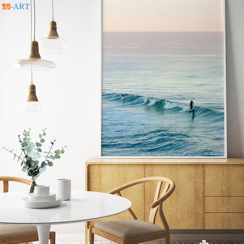 Beachy Living Room Big On Wall Decor: Ocean Waves Beach Art Print Large Printable Wall