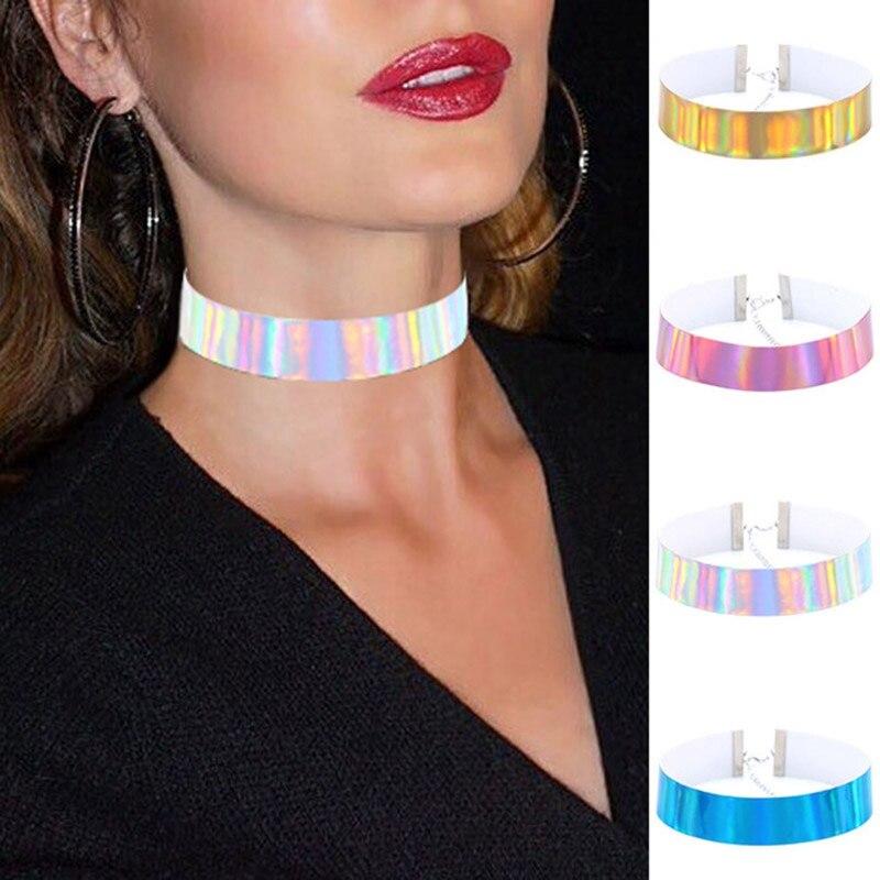 4pcs/set Trendy Holographic Glow Choker Necklace PU Leather Handmade Laser Chocker Rainbow Punk Gothic Women Chocker Necklace