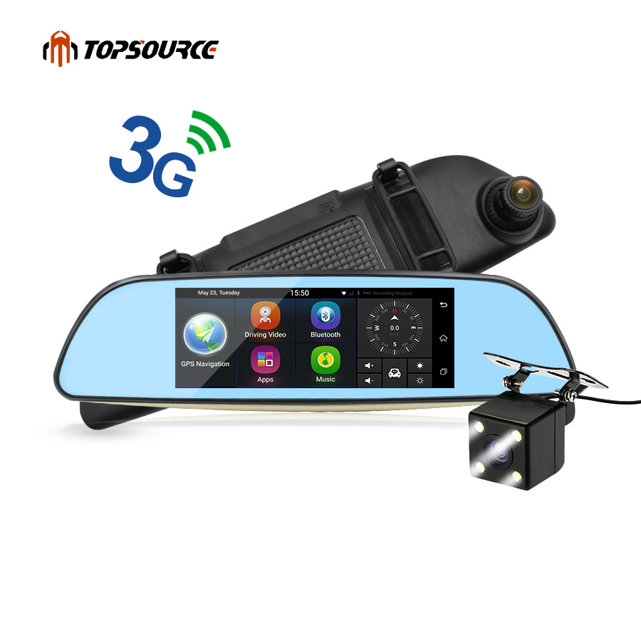 TOPSOURCE 6.86 3G Car DVR GPS Navigation Dual Lens Rearview Mirror Video Recorder FHD 1080P Automobile DVR Mirror Dash Camera 5 inch car camera dvr dual lens rearview mirror video recorder fhd 1080p automobile dvr mirror dash cam