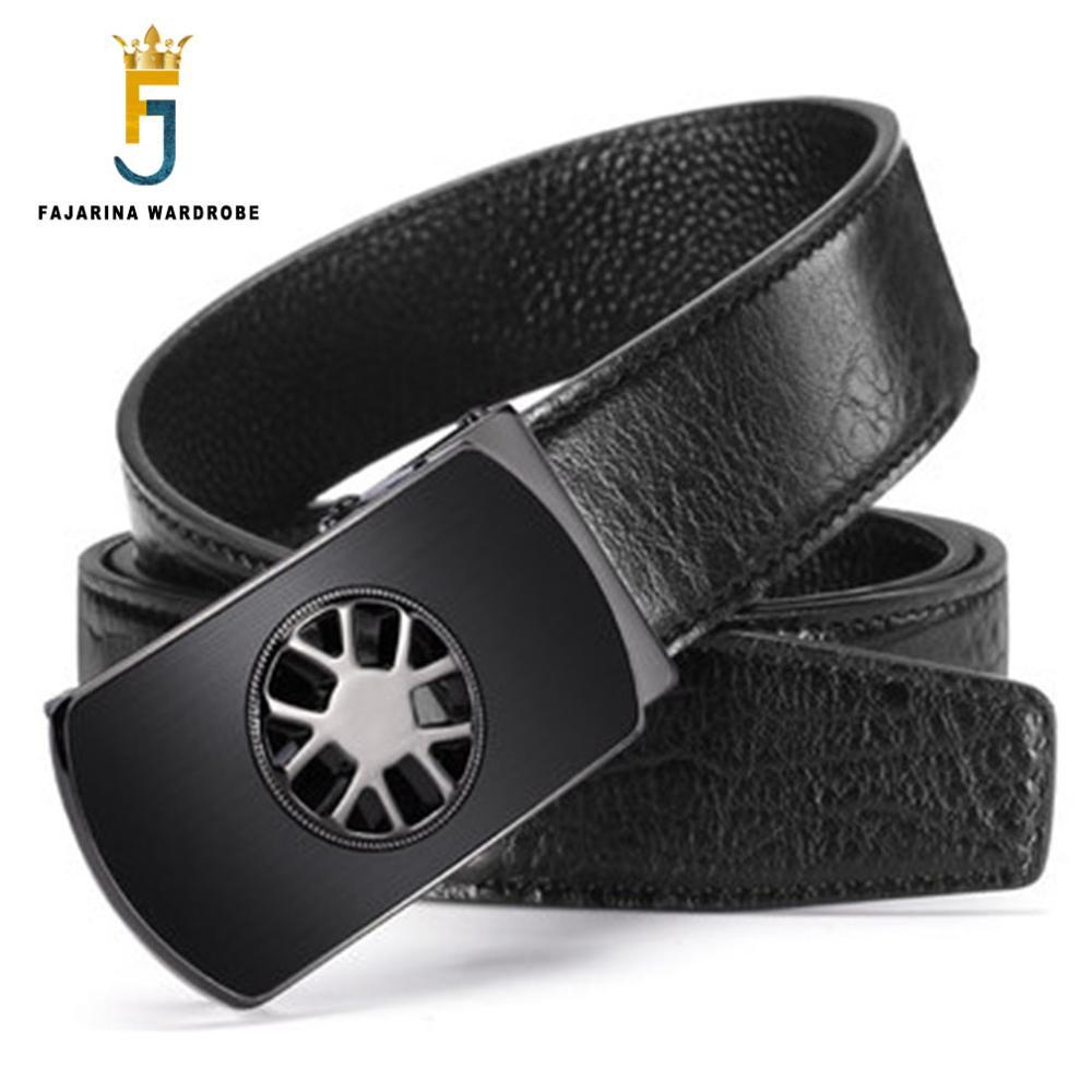 FAJARINA High Quality Crocodile Line Pattern Genuine Leather Cowhide Round Mesh Automatic Buckle Metal Belts for Men ZDFJ173