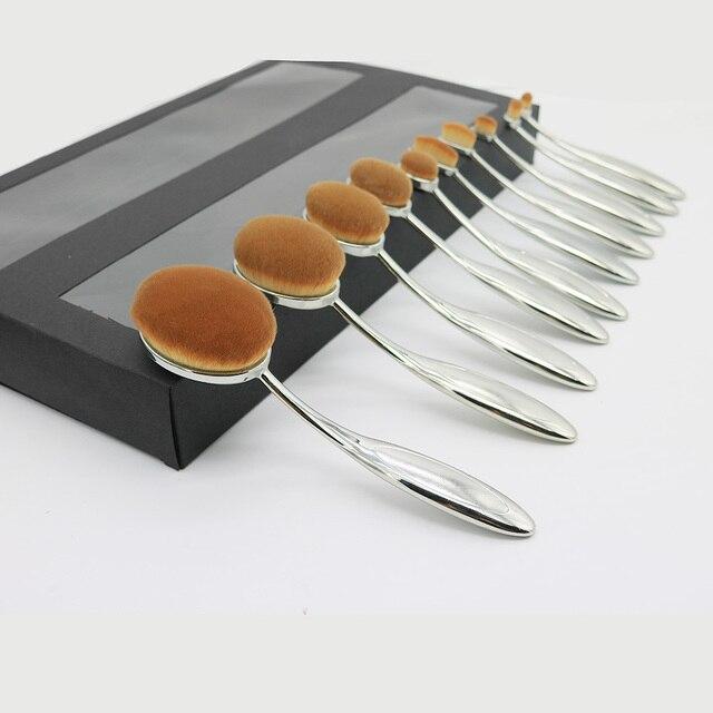 Nuevo 10 unids Plata-flexible Oval cepillo de Dientes cepillos Del Maquillaje Con la caja
