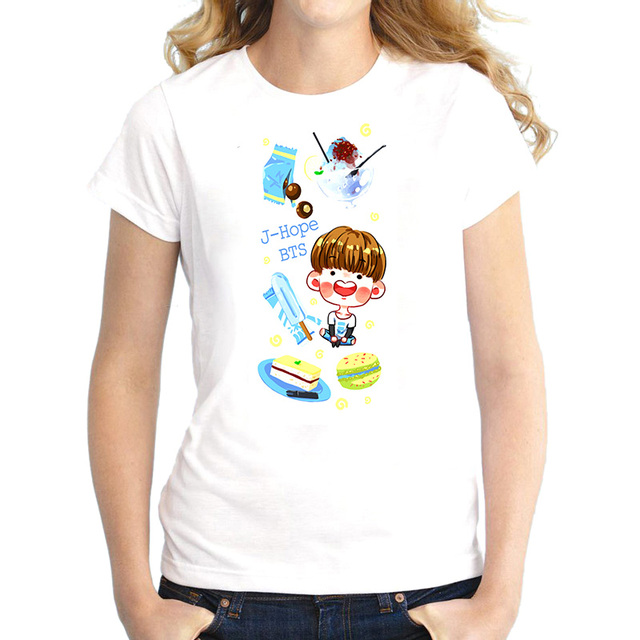 BTS KPOP Cartoon Face and Cake T-Shirt