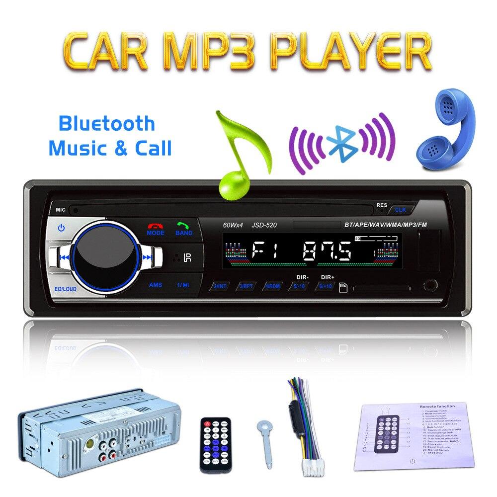 JSD 520 IC7388 Car Bluetooth Stereo Audio MP3 player Radio 12V In dash 1 Din FM Aux Receiver SD USB MP3 MMC WMA Car audio Player