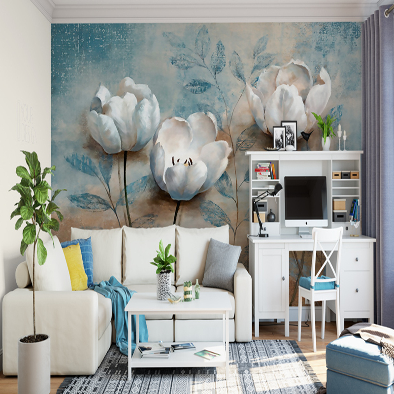 Photo 3D Mural Wallpapers European Style 3D Retro Relief Hand-Painted White Flowers Wall Papers for Living room Non-Woven Murals custom 3d wall murals wallpaper european style hand painted pastoral flower bird wall painting living room decoration wall mural
