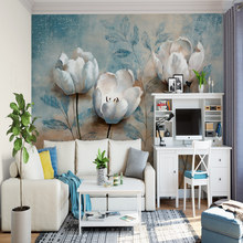Flowered wall paper promotion shop for promotional flowered wall photo 3d mural wallpapers european style 3d retro relief hand painted white flowers wall papers for living room non woven murals mightylinksfo