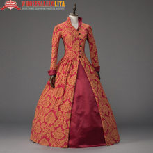 Printing Queen Elizabeth I / Tudor Gothic Jacquard Christmas Dress Game of Thrones Gown Theater Clothing(China)