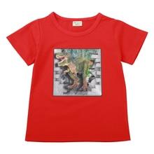 Childrens new 2019 cartoon dinosaur summer childrens short-sleeved T-shirt, wear girls tops