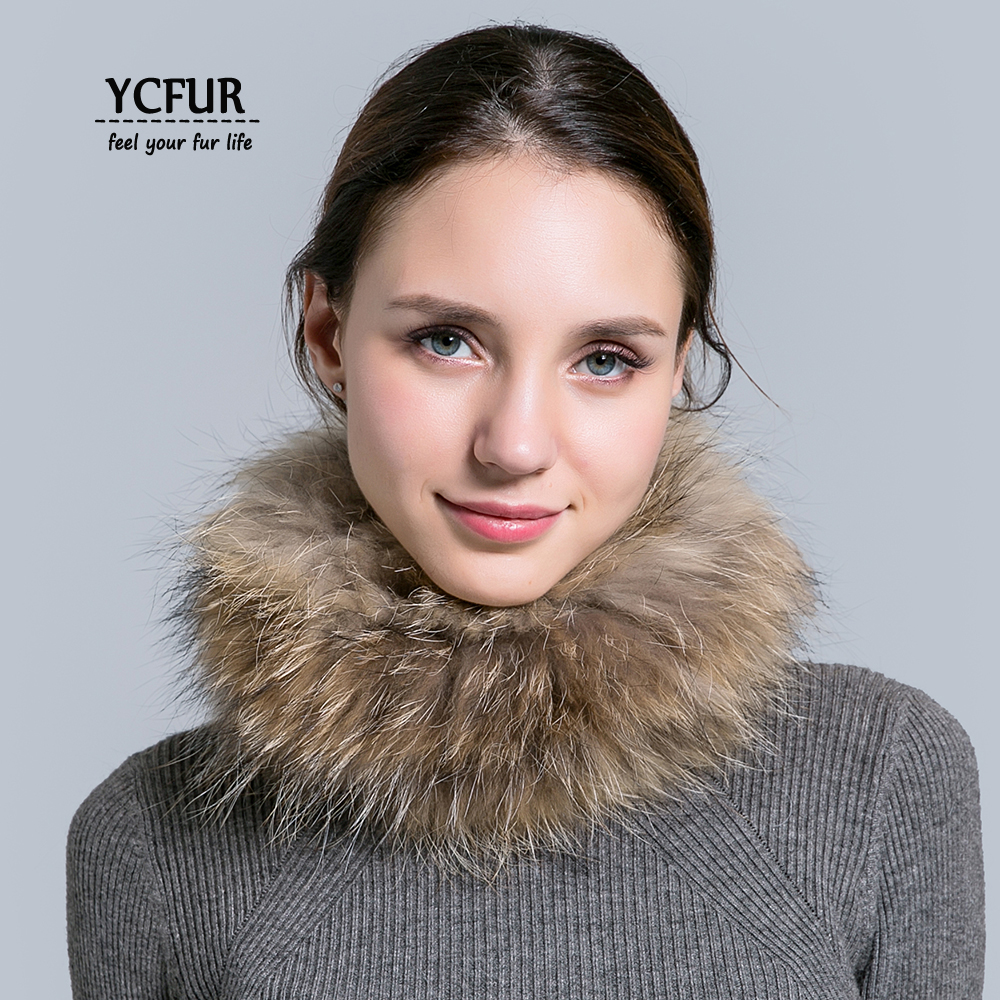 YCFUR Women Ring Scarf Winter Elastic Knit Real Fox Fur Scarves For Women Neck Warmer Scarf Female Hair Bands Headbands Girls