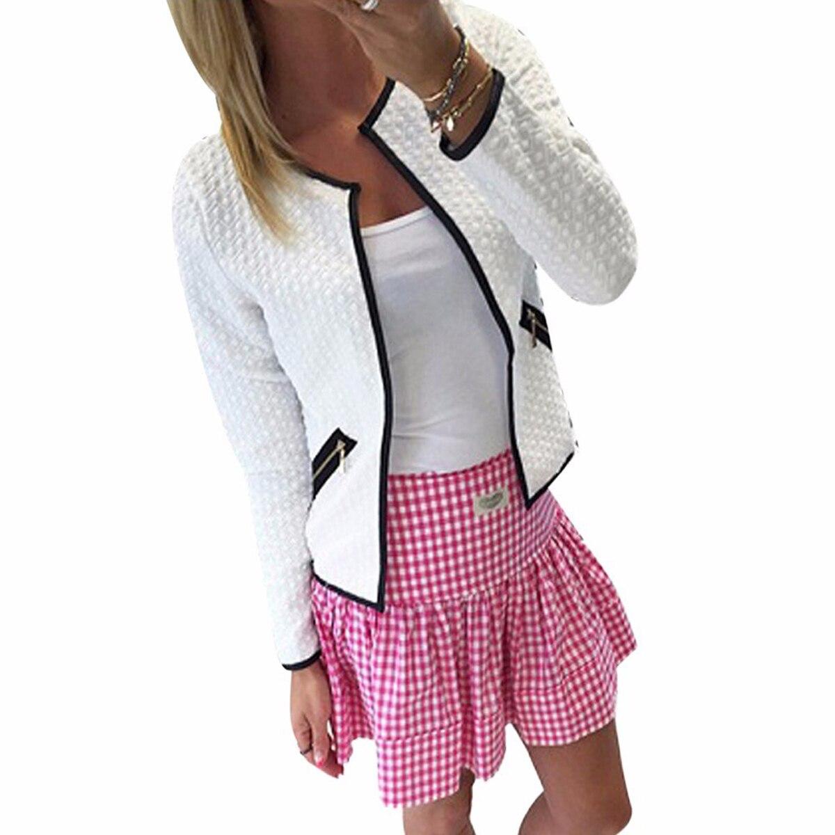 Women Bomper   Jacket   Spring Autumn Women   Basic     Jacket   Long Sleeve Pockets Slim Short Cardigan Coat Casual Outwear Tracksuit