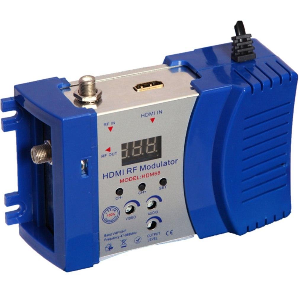 Hdm68 modulador digital rf hdmi modulador av ao conversor rf vhf uhf pal/ntsc padrão modulador portátil para au azul