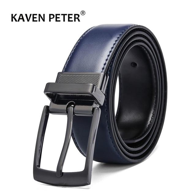 De lujo de la Moda hombre cinturón de cuero Reversible hombres pantalón cinturón de los hombres genuinos de cinturones de cuero para vaqueros azul oscuro marrón negro
