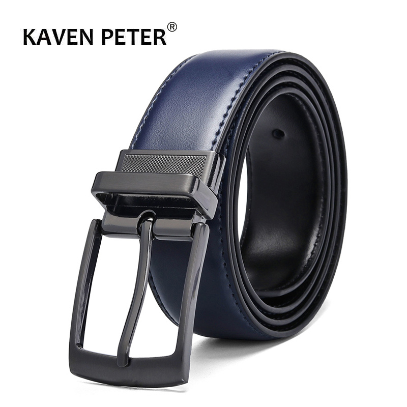 Luxury Fashion Male Reversible Leather Belt Men Business Trouser Belt Genuine Men Leather Belts For Jeans Blue Dark Brown Black