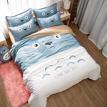 Japanese Anime Lucky Cat My Neighbor Totoro Kawaii Bedding Set Twin Queen King Duvet Cover Bedsheets for Children Boys and Girls(China)