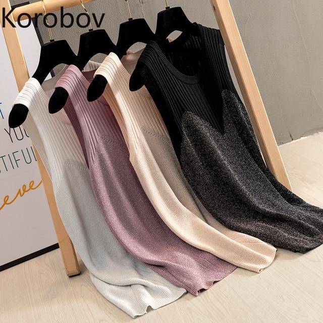 Korobov Summer Sleeveless Vest Sweater O-Neck Lurex Knitted Pullovers Tops Female Korean Thin Solid Women Tank Jumper 78593